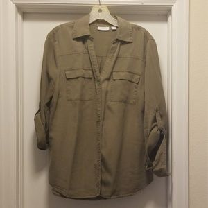 New York & Co military green utility blouse
